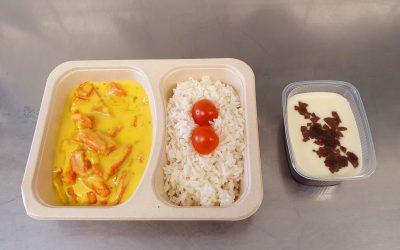 Möhren–Curry–Kokosragout mit Reis